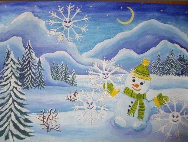 Как нарисовать с ребенком зиму. Зимние рисунки для детей. Как нарисовать ребенку избушку, снеговика.