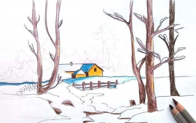 Как нарисовать с ребенком зиму