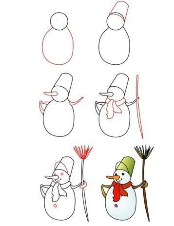 Как нарисовать ребенку снеговика