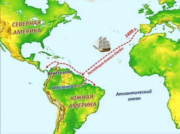 Экспедиции Америго Веспуччи на карте
