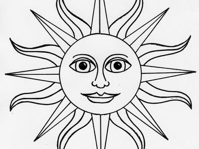 Шаблон солнышко для вырезания