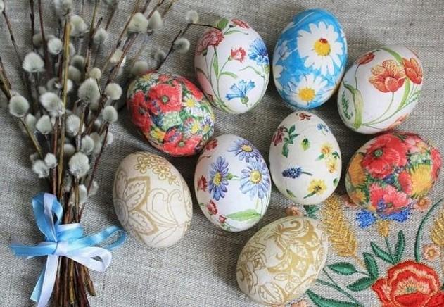 Декупаж яиц на пасху